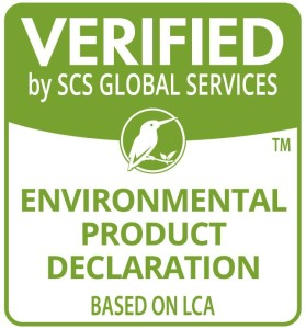 Verified by SCS Global Services, Environmental product declaration Based on LCA